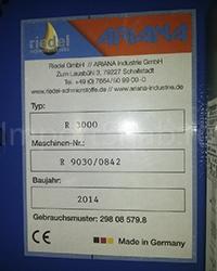 Табличка  установки для очистки СОЖ Ariana R-3000