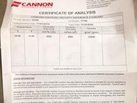 Стандарт вязкости Cannon N25B. Сертификат анализа