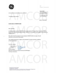 GE Authorization letter for AMCOR GmbH quote 1118716 232x300 - GE Power Conversion