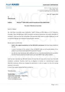 Asahi Letter AMCOR Kazan PJ 2020803%D0%93%D0%9E%D0%A2 212x300 - AMCOR авторизована  на поставку мембранных фильтров Microza