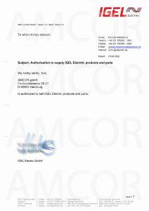 IGEL Authorization 212x300 - AMCOR – авторизованный партнер IGEL Electric