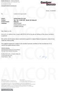 Robuschi Confirmation Letter 192x300 - Поставка ЗИП к компрессорам С-801 А/В и С-1502 А/В