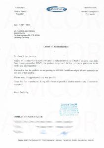 Authorization letter 210x300 - AMCOR авторизована на поставку ремкомплектов Cashco