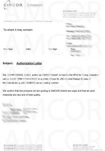 Authorization Letter Amcor 3024684 1 scaled 1 209x300 - AMCOR авторизована на поставку клапанов SCHROEDAHL